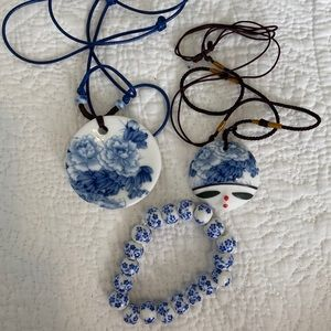 Jewelry - 2 Handmade Chinese Necklace and 1 bracelet